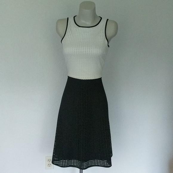 London Times Dresses & Skirts - Two tone, Lazer cut scuba dress